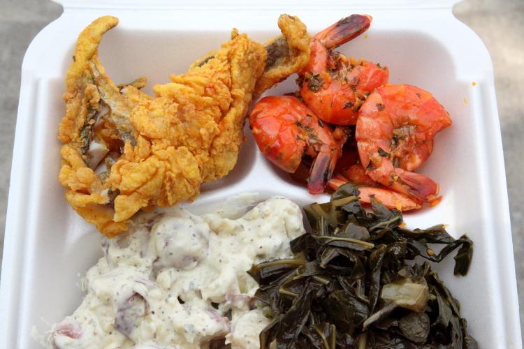 Whiting  shrimp  potato salad  collard greens  Antiguan stall  Dance Africa Bazaar  Fort Greene  Brooklyn