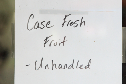 Case fresh fruit  unhandled  handwritten sign  Mazzella's Market  Ninth Ave  Manhattan