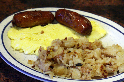 Scrambled eggs  sausage  hash browns at Tom's Restaurant  Broadway  New York