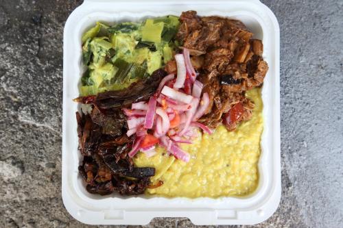Vegetable sampler over rice  New Asha Restaurant  Tompkinsville  Staten Island