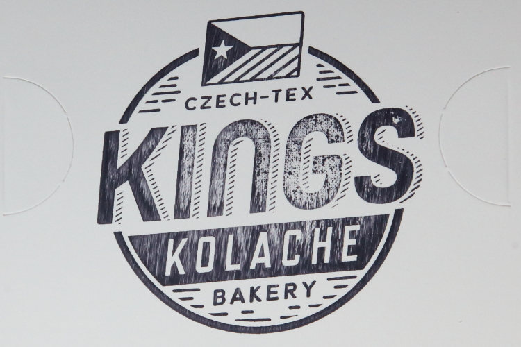 Box lid with black-and-white hybrid of Czech and Texan flags  Kings Kolache Bakery  Bushwick  Brooklyn