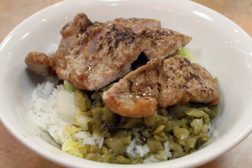 Pork chop over rice  ground pork  and pickled vegetables  the former Excellent Pork Chop House  Doyers St  Manhattan