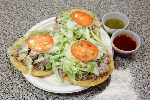 Tostadas con pata de cerdo  crispy tortillas with pig feet  Mi Espiguita  Astoria  Queens