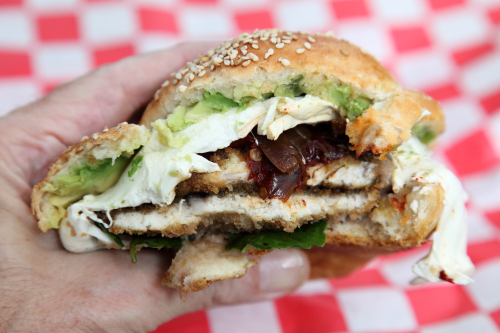 Cemita de pollo (biteaway view)  Tlaxcal Kitchen  Elmhurst  Queens