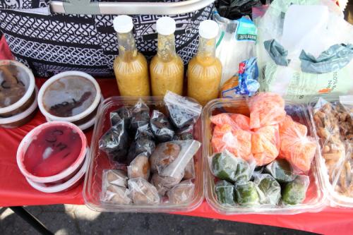 Trinidadian street vendor's table  Crown Heights  Brooklyn