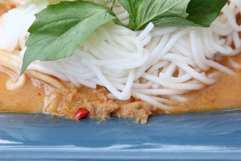 Nam ya pa (detail of noodles and spicy anchovy sauce)  Sa Ran Rom Thai  Elmhurst  Queens