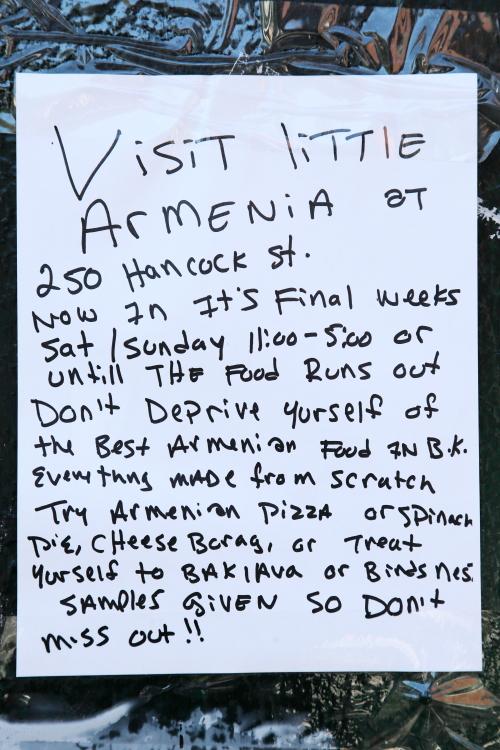 Visit Little Armenia  handwritten sign  Bedford-Stuyvesant  Brooklyn