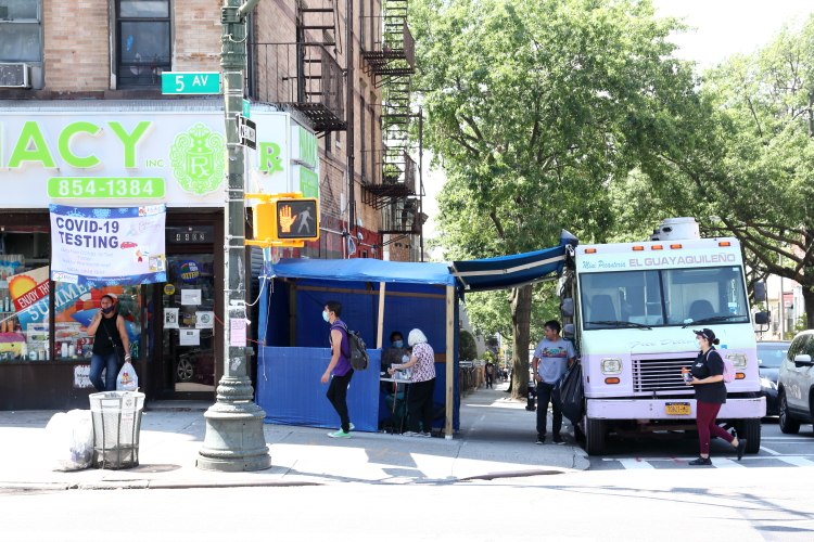 Covid-19 testing station and neighboring food truck  Sunset Park  Brooklyn