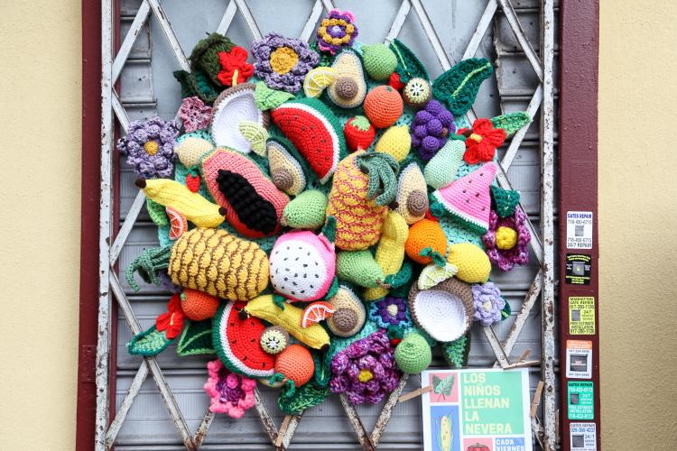 Fruit at the Barrio Fridge (NaomiRag and MakeMoreFresh  2020)  East 108th St  Manhattan