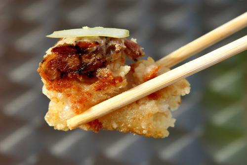 Bánh chưng chiên  crispy sticky rice cake (cutaway view)  Bánh Vietnamese Shop House  Amsterdam Ave  Manhattan