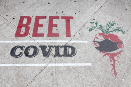 Beet Covid [wear your mask]  sidewalk art outside Veselka  Second Ave  Manhattan