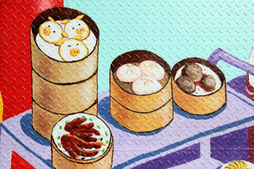 Now Serving Dim Sum  hand-painted mural (detail; Peach Tao for the Chinatown Mural Project  2020)  Dai Sing  Division St  Manhattan