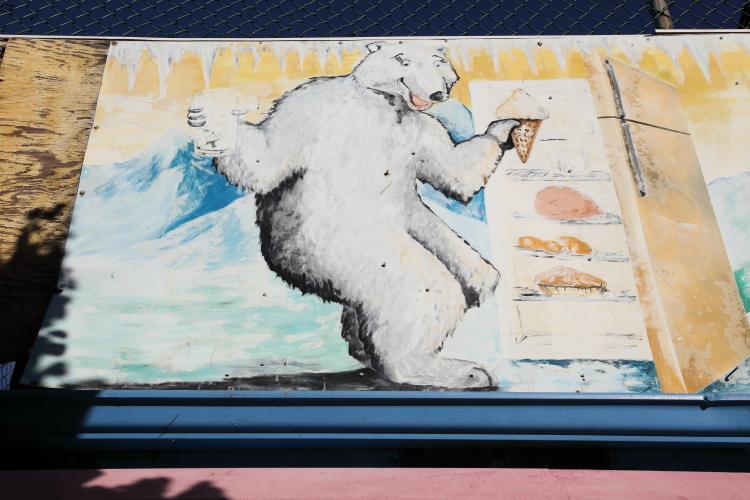 Hand-drawn artwork (detail of polar bear; Juan Luis Colón  date unknown)  Carlo's Refrigeration  Newark  New Jersey