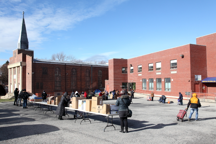 Parking-lot food pantry  The First Baptist Church  East Elmhurst  Queens