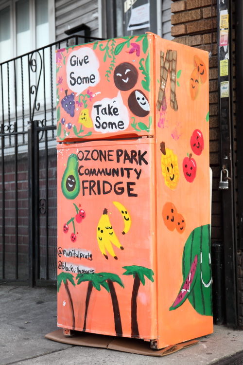 Give some  take some  hand-drawn artwork  Ozone Park Community Fridge  Queens