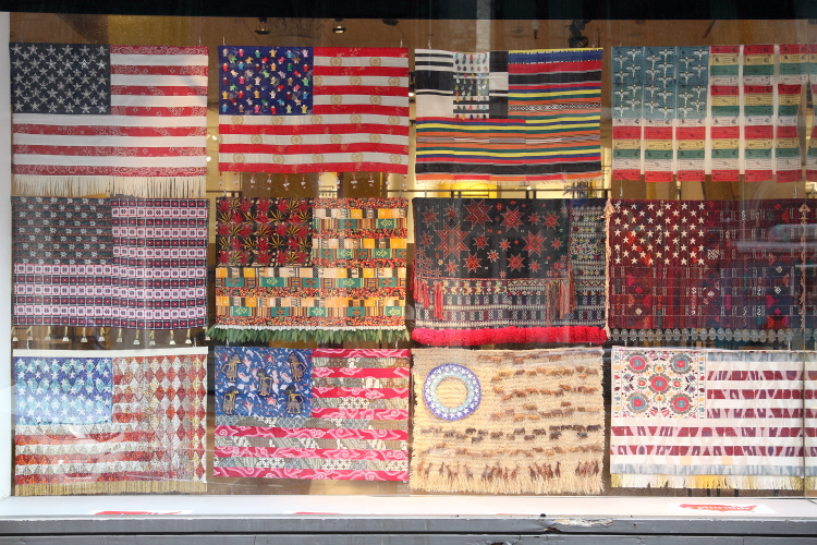 E Pluribus Flags (part of a series by Muriel Stockdale  2003 and after)  Desigual  Broadway  Manhattan