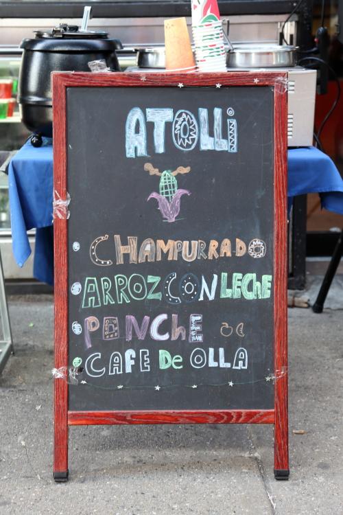 Atolli  hand-drawn signboard  Puebla Seafood  Jackson Heights  Queens
