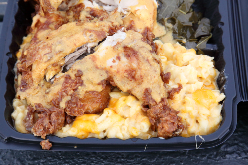 Chicken dinner (with mustard sauce) with mac 'n' cheese and collard greens  Johnson's BBQ  Woodstock  Bronx