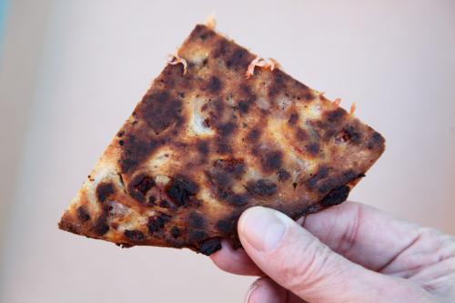Lard bread pizza (underside)  Mazzola Bakery  Carroll Gardens  Brooklyn