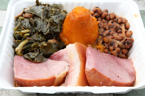 Collard greens  candied yam  black-eyed peas  and ham  BF Soul Food Restaurant  East 125th St  Manhattan