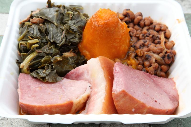 Collard greens  candied yam  black-eyed peas  and ham  BF Soul Food Restaurant  East 125th St  Manhattan