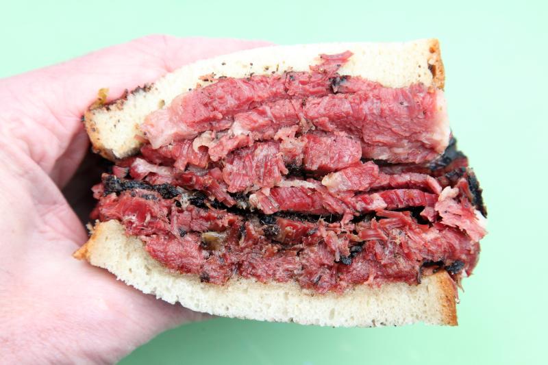 Pastrami sandwich  Katz's  DeKalb Market Hall  Downtown Brooklyn