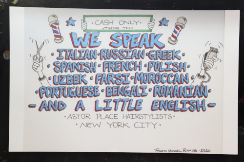 We speak a little English  hand-drawn artwork (Fausto Manuel Ramos  2020)  Astor Place Hairstylists  Astor Pl  Manhattan