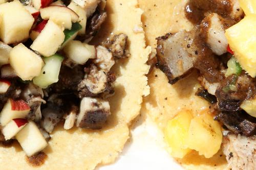 Jerk chicken and jerk pork tacos (detail)  Wah Gwaan  Bronx Night Market  Fordham  Bronx
