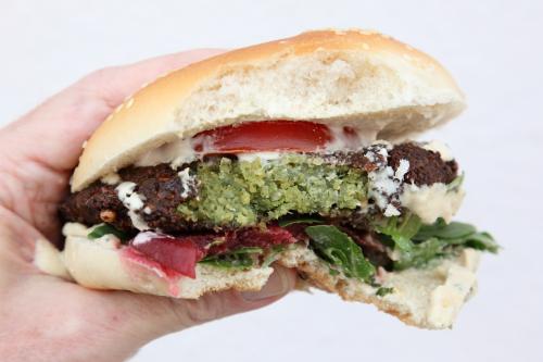 Taamia (Egyptian falafel) burger (biteaway view)  Veggie Stop  Astoria  Queens