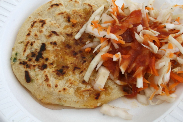 Jalapeno-and-cheese pupusa  Lainez stall  Red Hook Ball Fields  Brooklyn