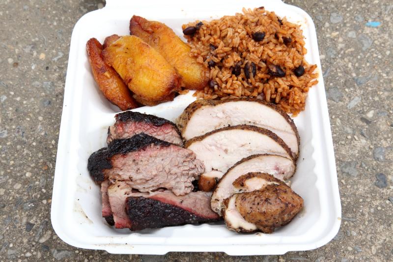Brisket  turkey  plantains  and congrí  Bark Barbecue  Ozone Park  Queens