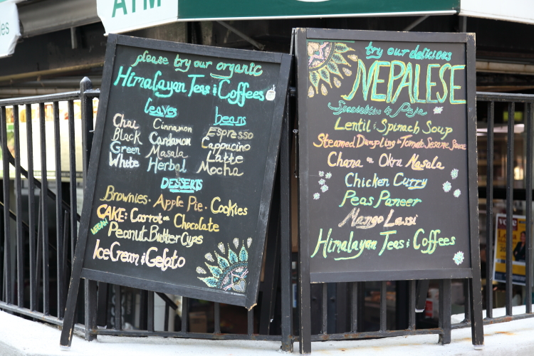 Himalayan teas & coffees  Nepalese specialties  hand-drawn signboards  Park West Cafe & Deli  Central Park West  Manhattan