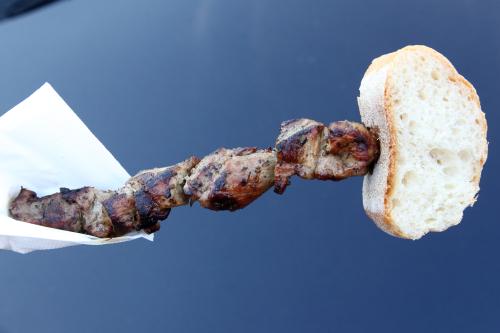 Pork souvlaki  Christos Souvlaki cart  Astoria  Queens