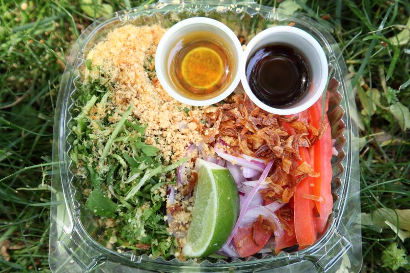 Horseshoe leaf salad (pennywort; unmixed)  MAHAA food bazaar  parish house of St James Episcopal Church  Elmhurst  Queens