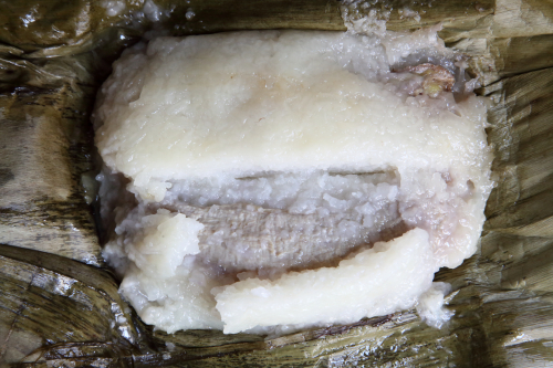 Banana and sticky rice  MAHAA food bazaar  parish house of St James Episcopal Church  Elmhurst  Queens