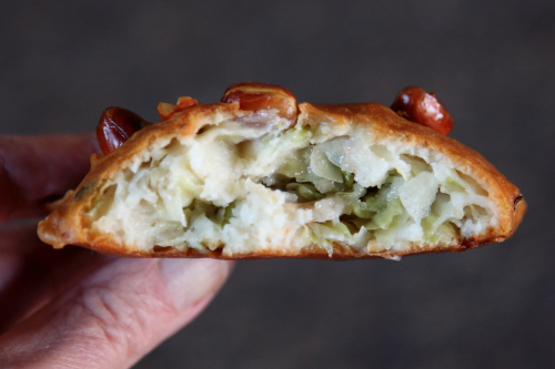 Fritter with peanuts and cabbage (biteaway view)  East Broadway  Manhattan