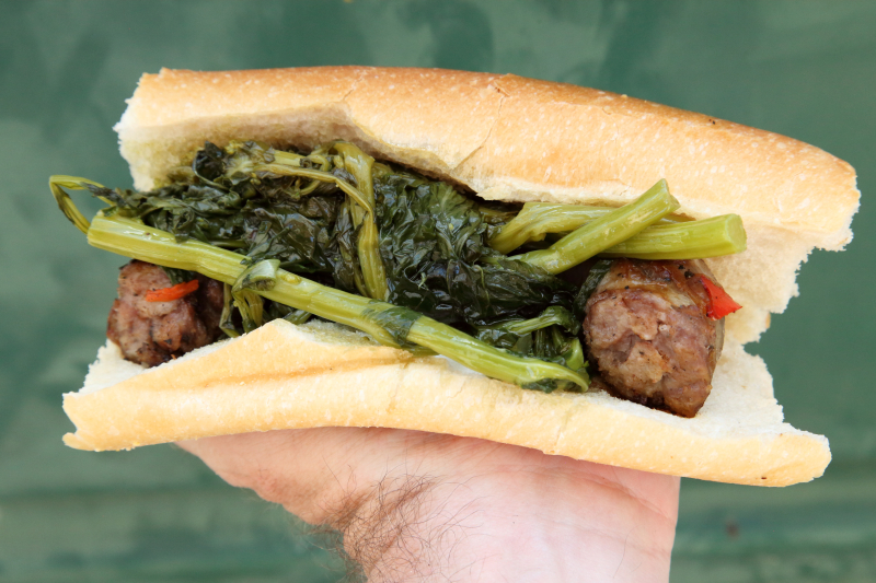 Sausage and broccoli rabe sandwich  Lucy's Palace  Feast of Our Lady of Mount Carmel  Williamsburg  Brooklyn