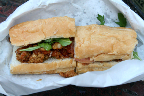 Oyster po' boy from Cheeky Sandwiches  Orchard Street  New York