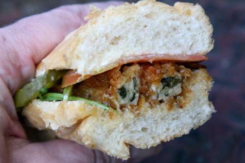 Oyster po' boy (cross-section) from Cheeky Sandwiches  Orchard Street  New York