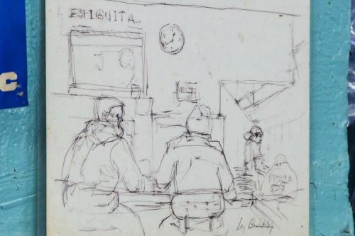 Customers at the counter  hand-drawn artwork (2018)  Mi Espiguita  Astoria  Queens
