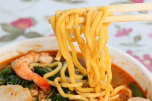 Prawn mee (detail of noodles)  Curry Leaves  Flushing  Queens