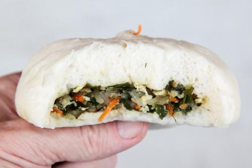 Vegetable bun (biteaway view)  Han Shi Bao Zi  Flushing  Queens
