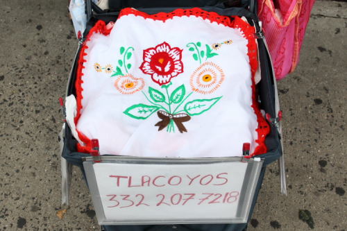 Embroidered liner  tlacoyo vendor's handcart  East 116th St  Manhattan
