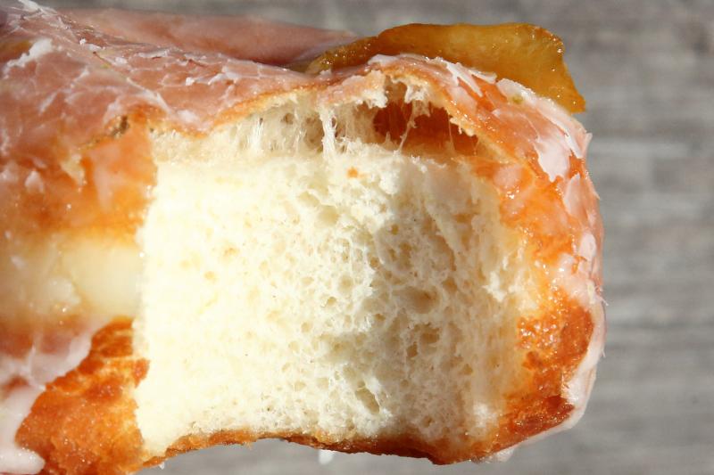 Luna limón  lemon-lime with candied lemon zest (biteaway view)  Fan Fan Doughnuts  Bedford-Stuyvesant  Brooklyn