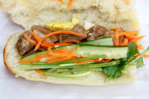 Bánh mì thịt kho trứng  Vietnamese sandwich with braised pork and egg (pop-top view)  Bánh Mì Cô Út  Elizabeth St  Manhattan