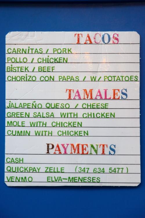 Menu  Elva Meneses food stand  Prospect Park South  Brooklyn