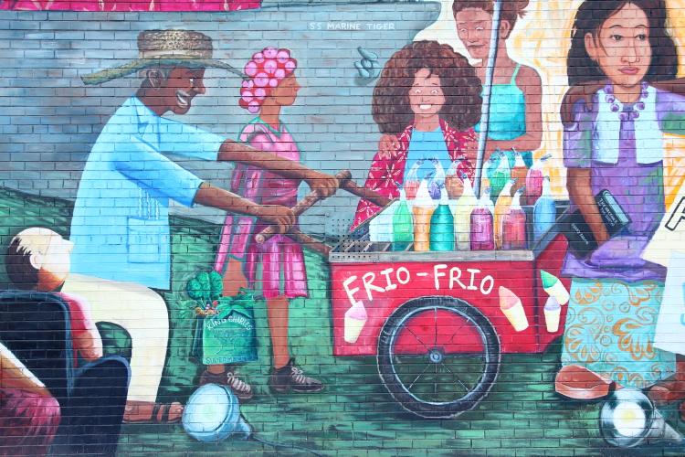 Orgullo de Los Sures (Pride of the Southside; detail of frio-frio vendor; Los Muralistas de El Puente  2016)  Middle School 50  Williamsburg  Brooklyn