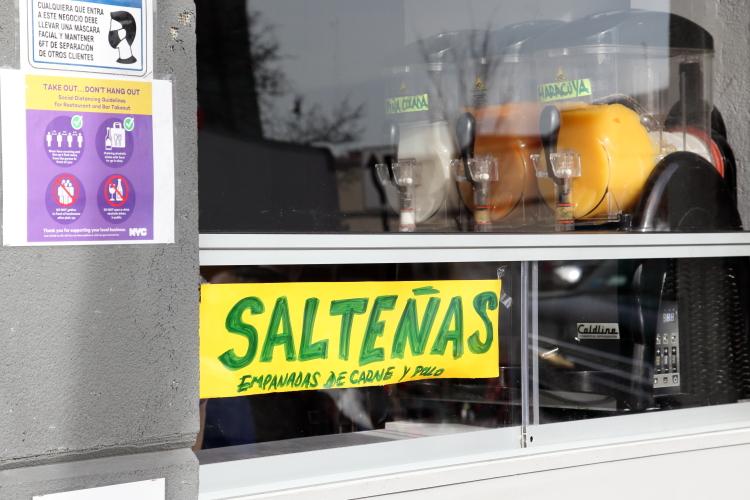 Salteñas  empanadas de carne y pollo  handwritten sign  Kabu Lounge  Jackson Heights  Queens