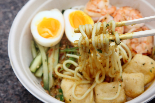 Laksa with added half-boiled egg  Native Noodles  Amsterdam Ave  Manhattan