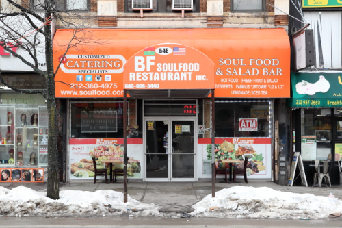 BF Soul Food Restaurant with Burkinabè and US flags  East 125th St  Manhattan